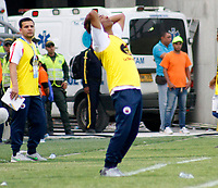 SANTA MARTA- COLOMBIA, 03-03-2019:Alexis García director técnico del Deportivo Pasto ante el Unión Magdelana. Acción de juego entre los equipos Unión Magdalena y el Deportivo Pasto  durante partido por fecha 8 de la Liga Águila I 2019 jugado en el estadio Sierra Nevada de la ciudad de Santa Marta. /Alexis Garcia  coach of Deportivo Pasto.Action game between  Union Magadalena  and  Deportivo Pasto  during match for the date 8 as part of the  Aguila League  I 2019 played at the Sierra Nevada Stadium in Santa Marta  city. Photo: VizzorImage /Gustavo Pacheco / Contribuidor