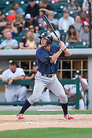 Clete Thomas (11) of the Lehigh Valley IronPigs at bat against the Charlotte Knights at BB&T Ballpark on May 8, 2014 in Charlotte, North Carolina.  The IronPigs defeated the Knights 8-6.  (Brian Westerholt/Four Seam Images)