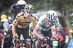 White Jersey Egan Bernal (COL) Ineos Grenadiers and Primoz Roglic (SLO) Jumbo-Visma attack on the second time up La Collada Llomena during Stage 17 of La Vuelta d'Espana 2021, running 185.8km from Unquera to Lagos de Covadonga, Spain. 1st September 2021.    <br /> Picture: Unipublic/Charly Lopez   Cyclefile<br /> <br /> All photos usage must carry mandatory copyright credit (© Cyclefile   Charly Lopez/Unipublic)