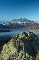 Ben Venue and a cloud inversion over Loch Katrine from the summit of Ben A'an, Stirlingshire<br /> <br /> Copyright www.scottishhorizons.co.uk/Keith Fergus 2011 All Rights Reserved