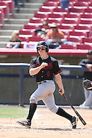 Tyler O'Neill (4) of the Bakersfield Blaze bats during a game against the High Desert Mavericks at Mavericks Stadium on May 18, 2015 in Adelanto, California. High Desert defeated Bakersfield, 7-6. (Larry Goren/Four Seam Images)