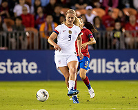HOUSTON, TX - FEBRUARY 03: Lindsey Horan #9 of the USA passes the ball during a game between Costa Rica and USWNT at BBVA Stadium on February 03, 2020 in Houston, Texas.