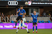 SAN JOSE, CA - SEPTEMBER 4: Eric Remedi #5 of the San Jose Earthquakes heads the ball during a game between Colorado Rapids and San Jose Earthquakes at PayPal Park on September 4, 2021 in San Jose, California.