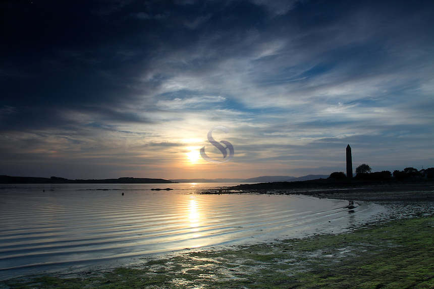 The Pencil monument at Largs at dusk. The Pencil was built to commemorate the Battle of Largs that took place here in 1263<br /> <br /> Copyright www.scottishhorizons.co.uk/Keith Fergus 2011 All Rights Reserved