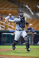 Salt River Rafters Grayson Greiner (15), of the Detroit Tigers organization, throws to first base during a game against the Glendale Desert Dogs on October 19, 2016 at Camelback Ranch in Glendale, Arizona.  Salt River defeated Glendale 4-2.  (Mike Janes/Four Seam Images)
