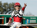 Feb 2010: Miguel Mena reacts after winning the SilverBulletDay Stakes at the Fairgrounds in New Orleans, La.