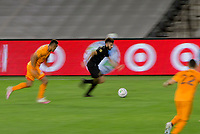 CARSON, CA - OCTOBER 28: Diego Rossi #9 of the Los Angeles FC moves with the ball during a game between Houston Dynamo and Los Angeles FC at Banc of California Stadium on October 28, 2020 in Carson, California.