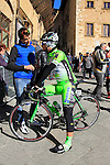 Enrico Battaglin (ITA) Bardiani CSF team chats with a fan before the start of the 2015 Strade Bianche Eroica Pro cycle race 200km over the white gravel roads from San Gimignano to Siena, Tuscany, Italy. 7th March 2015<br /> Photo: Eoin Clarke www.newsfile.ie