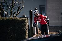Giacomo Nizzolo (ITA/Trek-Segafredo) after having crashed<br /> <br /> Omloop Het Nieuwsblad 2018<br /> Gent › Meerbeke: 196km (BELGIUM)