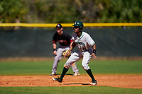 Dartmouth Big Green Blake Crossing (13) leads off during a game against the Omaha Mavericks on February 23, 2020 at North Charlotte Regional Park in Port Charlotte, Florida.  Dartmouth defeated Omaha 8-1.  (Mike Janes/Four Seam Images)