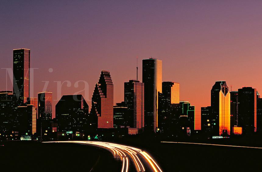Houston Skyline at dusk. Houston Texas USA.