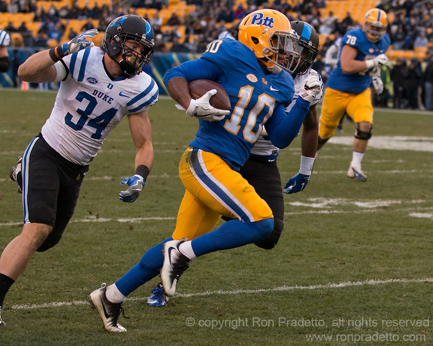 Pitt wide receiver Quadree Henderson scores on a 52-yard touchdown run. The Pitt Panther defeated the Duke Blue Devils 56-14 at Heinz Field in Pittsburgh, Pennsylvania on November 19, 2016.