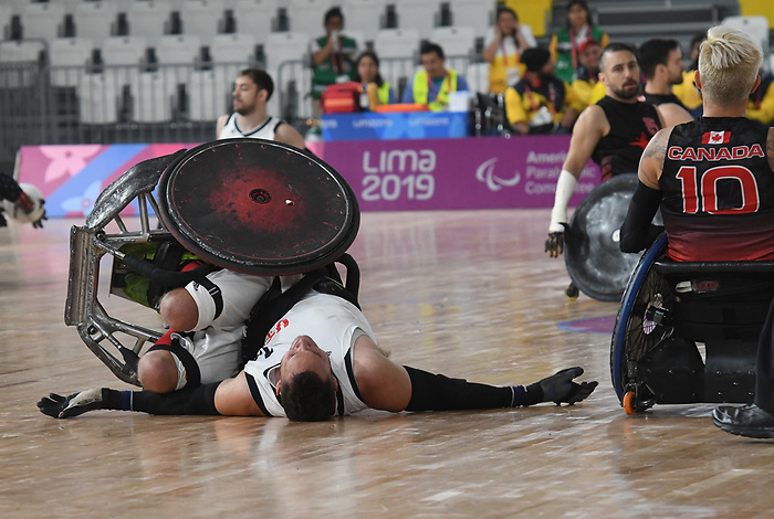 Lima 2019 - Wheelchair Rugby // Rugby en fauteuil roulant.<br /> Canada takes on the USA in wheelchair rugby // Le Canada affronte les États-Unis au rugby en fauteuil roulant. 27/08/2019.