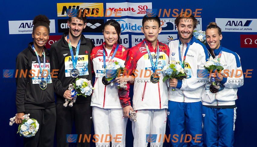 WANG Han and YANG Hao CHN gold medal, ABEL Jennifer and IMBEAU-DULAC Francois CAN silver medal, CAGNOTTO Tania and VERZOTTO Maicol ITA bronze medal <br /> Diving - Mixed 3m Synchro springboard final<br /> Day 10 02/08/2015<br /> XVI FINA World Championships Aquatics Swimming<br /> Kazan Tatarstan RUS July 24 - Aug. 9 2015 <br /> Photo Giorgio Perottino/Deepbluemedia/Insidefoto