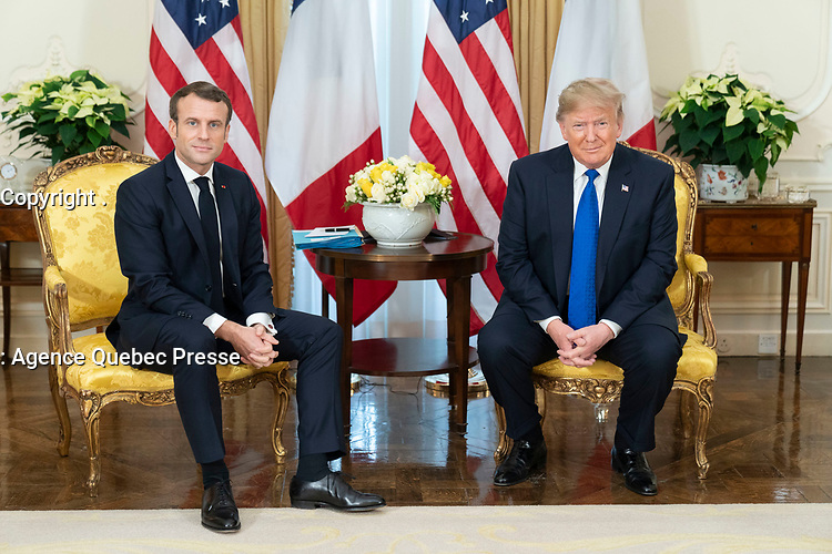 President Trump Meets with the President of France<br /> <br /> President Donald J. Trump participates in a pre-bilat discussion with President Emmanuel Macron of France Tuesday, Dec. 3, 2019, at Winfield House in London. (Official White House Photo by Shealah Craighead)