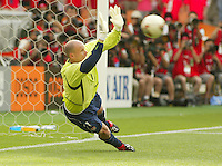 Brad Friedel stops a penalty kick. The USA tied South Korea, 1-1, during the FIFA World Cup 2002 in Daegu, Korea.