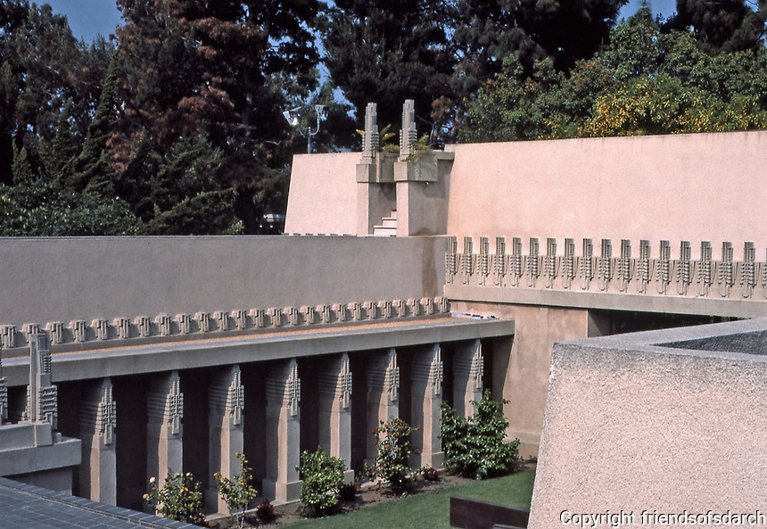 """Frank Lloyd Wright:  Aline Barnsdall """"Hollyhock House"""", Hollywood, 1917.  Concrete masses with hollyhock motif.  Photo  March 1982."""