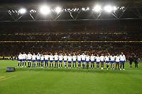 17th July 2021; Brisbane, Australia;  French team National Anthem during the Australia versus France, 3rd Rugby Test at Suncorp Stadium, Brisbane, Australia on Saturday 17th July 2021.