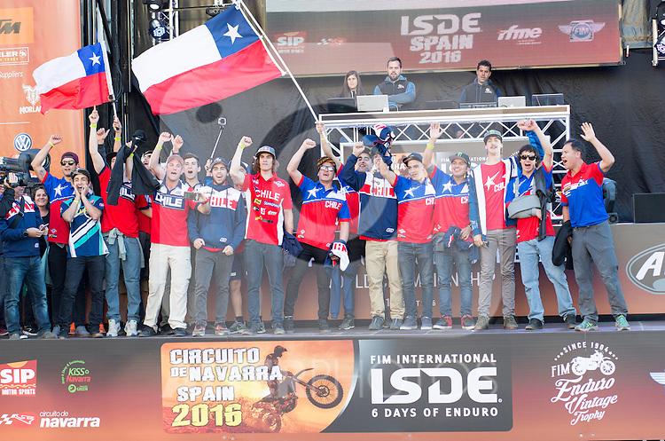Chile enduro team during the presentation of the FIM international six days of enduro 2016 in Pamplona, Spain. October 09, 2016. (ALTERPHOTOS/Rodrigo Jimenez)
