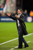 New England Revolution head coach Jay Heaps. The New York Red Bulls defeated the New England Revolution 4-1 during a Major League Soccer (MLS) match at Red Bull Arena in Harrison, NJ, on March 20, 2013.