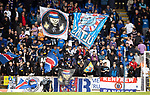 St Johnstone v Rangers…11.09.21  McDiarmid Park    SPFL<br />Rangers fans in the Ormond Stand<br />Picture by Graeme Hart.<br />Copyright Perthshire Picture Agency<br />Tel: 01738 623350  Mobile: 07990 594431