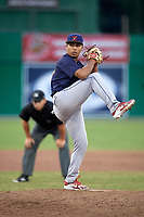 State College Spikes relief pitcher Hector Villalobos (41) delivers a pitch during a game against the Batavia Muckdogs on July 9, 2018 at Dwyer Stadium in Batavia, New York.  State College defeated Batavia 3-0.  (Mike Janes/Four Seam Images)