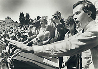 1979 FILE PHOTO - ARCHIVES -<br /> <br /> Clark; Joe (election campaign 1979)<br /> <br /> <br /> Joe Clark on the trail. addressing a Vancouver rally.<br /> <br /> Bezant, Graham<br /> Picture, 1979,<br /> <br /> 1979,<br /> <br /> PHOTO : Graham Bezant - Toronto Star Archives - AQP