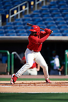 Clearwater Threshers left fielder Cornelius Randolph (2) at bat during the first game of a doubleheader against the Daytona Tortugas on July 25, 2017 at Spectrum Field in Clearwater, Florida.  Daytona defeated Clearwater 4-1.  (Mike Janes/Four Seam Images)