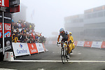 Nicolas Roche (AG2R) crosses the line at the finish summit of the Col du Tourmalet during a wet foggy Stage 17 of the 2010 Tour de France at Palais Beaumont from Pau to Col du Tourmalet, 22nd July 2010 (Photo by Steven Franzoni/NEWSFILE)