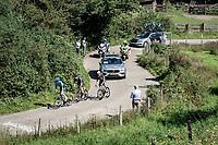the breakaway trio consisting of: Hugo Houle (CAN/Astana - Premier Tech), Casper Pedersen (DEN/DSM) & Jack Bauer (NZL/BikeExchange) up the Slingerberg / Tiendeberg<br /> <br /> 17th Benelux Tour 2021<br /> Stage 5 from Riemst to Bilzen (BEL/192km)<br /> <br /> ©kramon