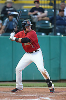 Brandon Drury #3 of the Visalia Rawhide bats against the Stockton Ports at Rawhide Ballpark on May 5, 2014 in Visalia California. Visalia defeated Stockton, 8-6. (Larry Goren/Four Seam Images)