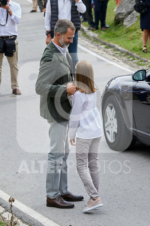 King Felipe VI of Spain and Princess Leonor of Spain visit the Enol lake in Asturias, Spain. September 08, 2018. (ALTERPHOTOS/A. Perez Meca)