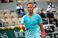 28th September 2020, Roland Garros, Paris, France; French Open tennis, Roland Garros 2020;  Rafael Nadal reacts during the mens singles first round match with Egor Gerasimov of Belarus