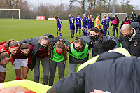 Standard players at the huddle before a female soccer game between Standard Femina de Liege and RSC Anderlecht on the 9th matchday of the 2020 - 2021 season of Belgian Scooore Womens Super League , saturday 12 th of December 2020  in Angleur , Belgium . PHOTO SPORTPIX.BE   SPP   SEVIL OKTEM