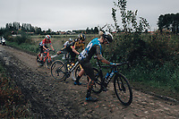 2nd October 2021, Paris–Roubaix Cycling tour; The first ever women's edition of Paris Roubaix which is famous for its uneven cobblestone course. Riders get back on bikes after their falls