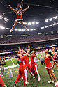 Ohio State cheerleaders celebrate during the Allstate Sugar Bowl in New Orleans, Louisiana January, 4, 201. The Ohio State Buckeyes defeated the Arkansas Razorbacks, 31- 26.<br /> <br /> <br /> <br /> (Cheryl Gerber/AP Images for Allstate)