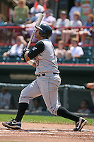 June 24, 2009:  Third Baseman Pedro Alvarez (13) of the Altoona Curve hits a home run off the center field batters eye during a game at Jerry Uht Park in Erie, PA.  The Altoona Curve are the Eastern League Double-A affiliate of the Pittsburgh Pirates.  Photo by:  Mike Janes/Four Seam Images