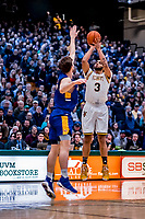 9 February 2019: University of Vermont Catamount Forward Anthony Lamb, a Junior from Toronto, Ontario, goes up for three in first-half action against the University at Albany Great Danes at Patrick Gymnasium in Burlington, Vermont. The Catamounts defeated the Danes 67-49 in their America East matchup. Mandatory Credit: Ed Wolfstein Photo *** RAW (NEF) Image File Available ***