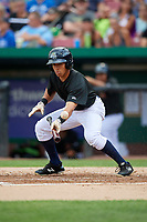 Kane County Cougars center fielder Gabriel Maciel (5) squares around to bunt during a game against the South Bend Cubs on July 21, 2018 at Northwestern Medicine Field in Geneva, Illinois.  South Bend defeated Kane County 4-2.  (Mike Janes/Four Seam Images)