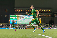 Portland, Oregon - Wednesday September 25, 2019: Jeremy Ebobisse #17 celebrates scoring the first goal of the game during a regular season game between Portland Timbers and New England Revolution at Providence Park on September 25, 2019 in Portland, Oregon.