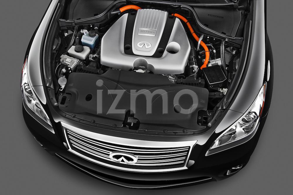 High angle engine detail of a 2012 Infiniti M Hybrid.