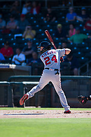 Salt River Rafters shortstop Carter Kieboom (24), of the Washington Nationals organization, at bat during an Arizona Fall League game against the Surprise Saguaros on October 9, 2018 at Surprise Stadium in Surprise, Arizona. The Rafters defeated the Saguaros 10-8. (Zachary Lucy/Four Seam Images)