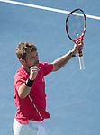 Stanislaus Wawrinka (SUI) defeats Andy Murray (GBR) 6-4,6-3, 6-2 to win the first set (GBR) at the US Open being played at USTA Billie Jean King National Tennis Center in Flushing, NY on September 5, 2013