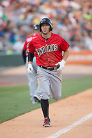 Brent Morel (5) of the Indianapolis Indians jogs towards home plate after hitting a home run against the Charlotte Knights at BB&T BallPark on June 20, 2015 in Charlotte, North Carolina.  The Knights defeated the Indians 6-5 in 12 innings.  (Brian Westerholt/Four Seam Images)