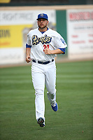Adam Bray (38) of the Rancho Cucamonga Quakes runs in the outfield before pitching against the Modesto Nuts at LoanMart Field on August 2, 2017 in Rancho Cucamonga, California. Modesto defeated Rancho Cucamonga, 10-5. (Larry Goren/Four Seam Images)