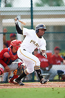 GCL Pirates designated hitter Felix Vinicio (66) at bat during a game against the GCL Phillies on August 6, 2016 at Pirate City in Bradenton, Florida.  GCL Phillies defeated the GCL Pirates 4-1.  (Mike Janes/Four Seam Images)