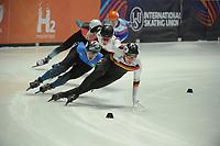 SPEEDSKATING: DORDRECHT: 05-03-2021, ISU World Short Track Speedskating Championships, QF 1500m Men, Christoph Schubert (GER), Adil Galiakhmetov (KAZ), ©photo Martin de Jong
