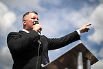 © Joel Goodman - 07973 332324 . 22/07/2017 . Rochdale , UK . PAUL GOLDING speaks at the rally . Britain First hold a demonstration in Rochdale , opposed by anti-fascist groups . Britain First say they are highlighting concerns about child sexual exploitation in the town . Photo credit : Joel Goodman