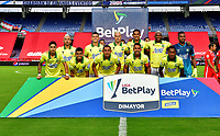 CALI-COLOMBIA, 20-09-2020: Jugadores de Atletico Bucaramanga, posan para una foto, antes de partido entre America de Cali y Atletico Bucaramanga, de la fecha 9 por la Liga BetPlay DIMAYOR I 2020 jugado en el estadio Pascual Guerrero de la ciudad de Cali. / Players of Atletico Bucaramanga, pose for a photo, prior a match between America de Cali and Atletico Bucaramanga, of the 9th date for the BetPlay DIMAYOR I 2020 played at the Pascual Guerrero stadium in Cali city. / Photo: VizzorImage / Nelson Rios / Cont.