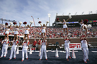 Arkansas cheerleaders perform, Saturday, October 9, 2021 during a football game at Vaught Hemingway Stadium in Oxford, Miss. Check out nwaonline.com/211010Daily/ for today's photo gallery. <br /> (NWA Democrat-Gazette/Charlie Kaijo)